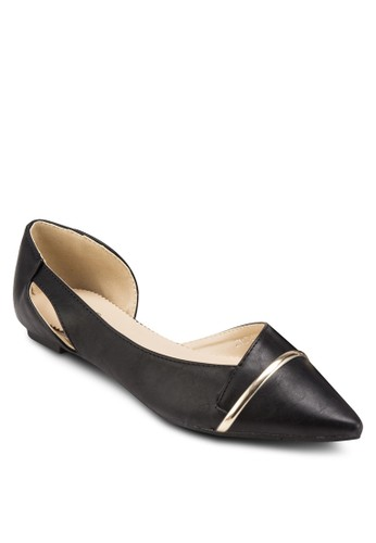 MARIE 側鏤空金屬飾尖頭平底esprit門市地址鞋, 女鞋, 鞋