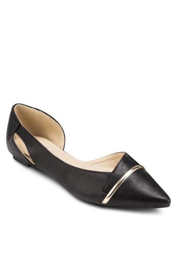 MARIE 側鏤空金屬飾尖esprit 衣服頭平底鞋, 女鞋, 鞋
