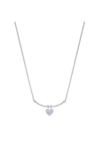 MaBelle silver 18K 750 White Gold Diamond Heart Necklace E5EA5AC06F2CBAGS_1