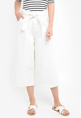 ZALORA white High Waist Wide Leg Cropped Pants 8E4E0AAEE6790CGS_1