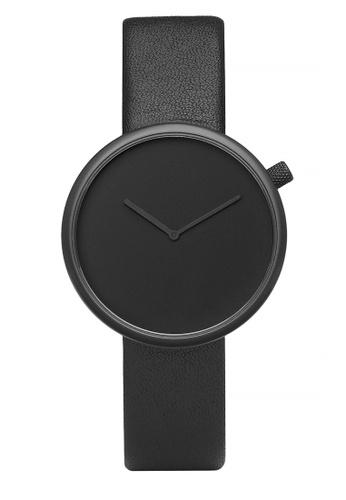Splice Cufflinks black Bulbul Ore Black Steel on Black Italian Leather SP744AC96UGDSG_1
