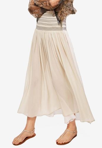 Mango beige Gathered Waist Skirt A0C2DAABEF078BGS_1