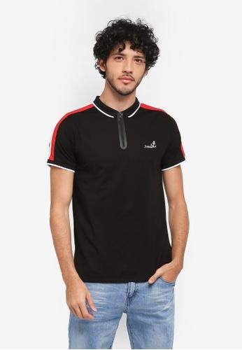Fidelio black Zipper Micro Collar Polo Shirt 19F98AA970855EGS_1