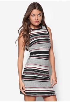 條紋A 字連身裙