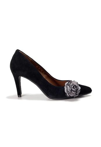Shu Talk 黑色 LeccaLecca 高雅配花尖頭高跟鞋 C4BD3SH5865869GS_1