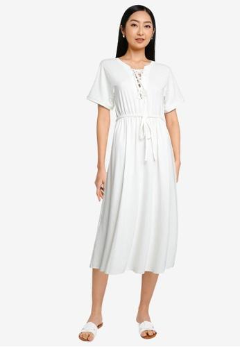 Heather white Plain Midi Dress 29E82AAC3329CDGS_1