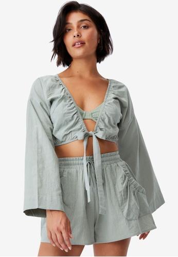 Cotton On Body green Tie Waist Beach Shorts 4D5A5AA101E788GS_1