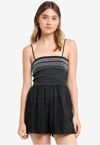 Something Borrowed black Embroidered Smock Romper 97D58AA325D4BEGS_1