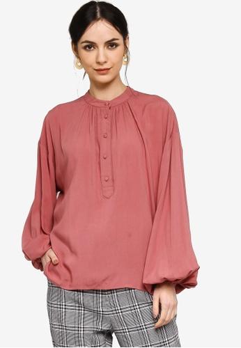 Zalia pink Bubble Sleeves Blouse 78B6CAA48CBB7BGS_1