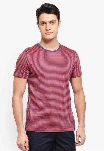 ESPRIT 紅色 短袖條紋T恤 1396AAAD27A47FGS_1