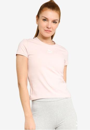 PUMA pink Classics Fitted Women's Tee C3E9CAAC6AE62EGS_1