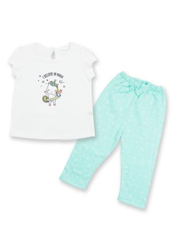 Tiny Tummies white and green Blouse With Printed Leggings Set 7C0C7KA882DF8FGS_1