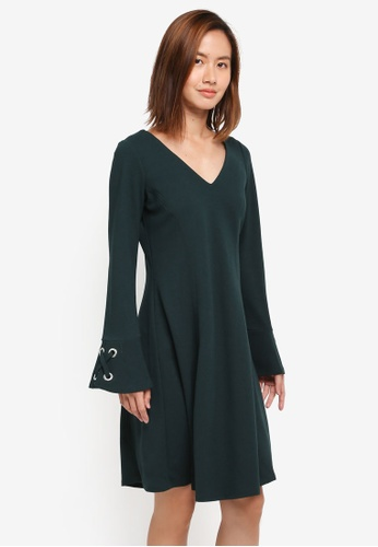 Wallis green Green Eyelet Flute Sleeve Fit And Flare Dress F6C71AAE395B41GS_1