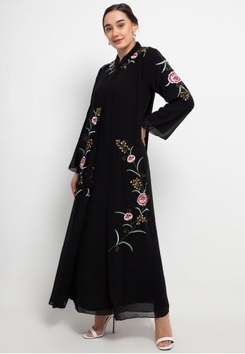 Kamilaa by Itang Yunasz black Gamis Bordir 95455AA40EE86FGS_1