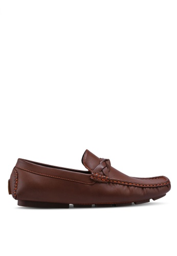 UniqTee 褐色 Loafers with Strap Detail B1465SH790F6E3GS_1