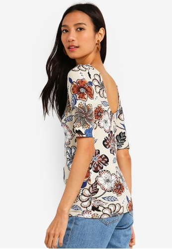 29ed1e6b013a4 Buy Dorothy Perkins Ivory Paisley Scoop Back Top Online on ZALORA Singapore
