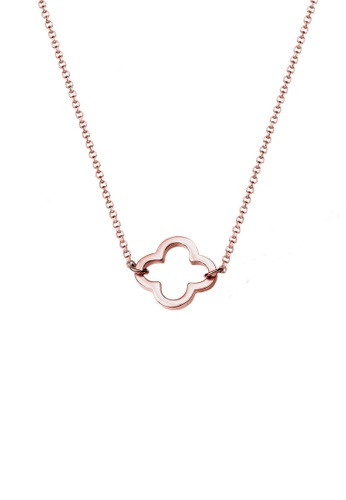 Elli Germany pink and gold Elli Germany 925 Sterling Silver Rose Gold-Plated Clover Leaf Necklace EL474AC0S1YRMY_1