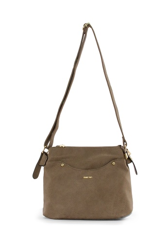 SEMBONIA brown SEMBONIA Synthetic Leather Crossbody Bag (Dark Brown) 81869ACA0F242CGS_1