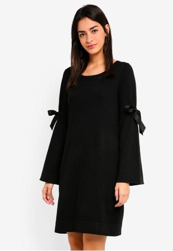 Max Studio black Crew Neck Bell Sleeve Dress 653A3AA15E94D4GS_1