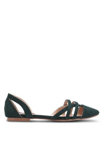 ZALORA green Cut-Out Pointed Toe Flats E183ASH998CE21GS_1