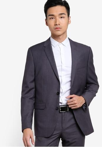 Burton Menswear London 灰色 修身正裝外套 BU964AA93JVIMY_1