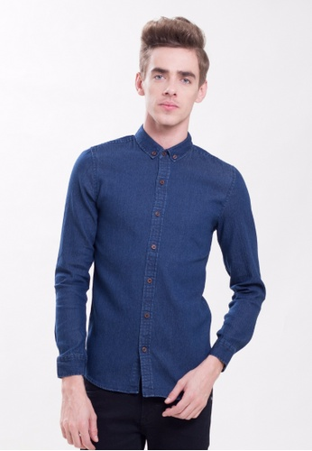 Drum Denim Long Sleeve Shirt-BLU DR425AA0SAQ7MY_1