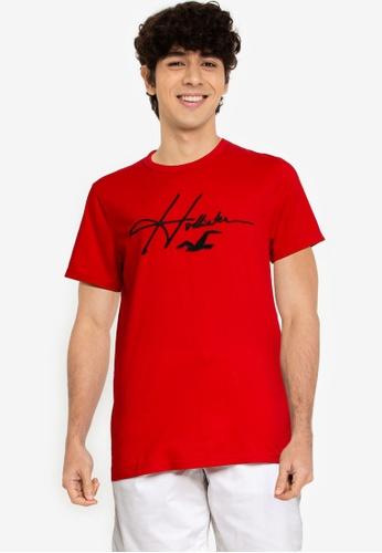 Hollister red Tech Micro Script T-Shirt 183A9AAEF3A71AGS_1