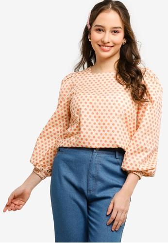 Lubna orange and yellow Puffed Sleeve Top 66F1FAA3238D23GS_1