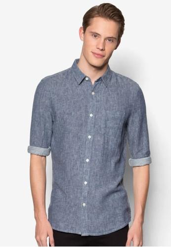 Long-Sleeved尖沙咀 esprit outlet Lancaster Textured Twill Shirt, 服飾, 服飾