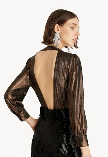 Pomelo brown Reflective Open Back Bodysuit - Brown 50E12AA9845883GS_1
