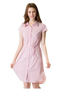 OUWEY歐薇 甜美夏日條紋短袖洋裝