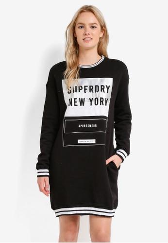 Superdry black Tipped Rib Sweat Dress SU137AA0RIQUMY_1