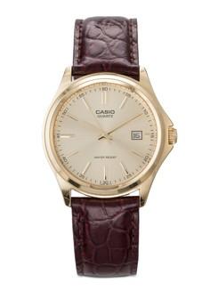 圓框日期皮革手錶
