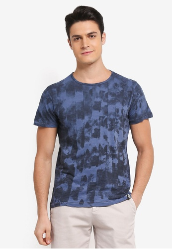 Indicode Jeans 藍色 短袖水洗印花T恤 EF2C8AA8F0A5A8GS_1
