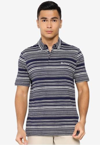 Ben Sherman blue Discharge Print Polo Shirt B9501AA4FD5543GS_1