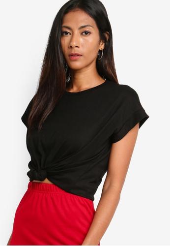 ZALORA BASICS black Basic Rolled Cap Sleeves T-Shirt 73D31AA3E7F158GS_1