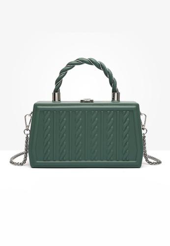 Lara green Women's French Fashion Embossed Chain Leather Cross-body Bag - Green ABDBBAC97664B4GS_1