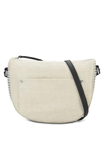 Jute mango官網條紋拼接半月型斜背包, 包, 包