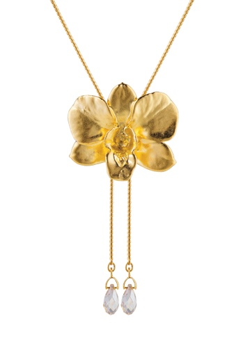RISIS multi RISIS 24K Gold and Palladium Plated Natural Dendrobium Merry Island Orchid Slider /w Crystal Tailend B106BACE3817EBGS_1