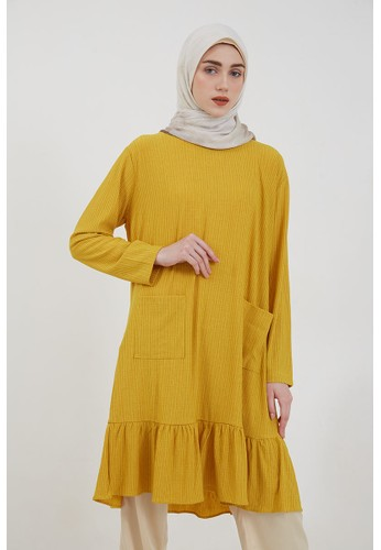 Hijabenka yellow Sephia Vika Ruffle Tunic Yellow 05C82AA6AE6266GS_1