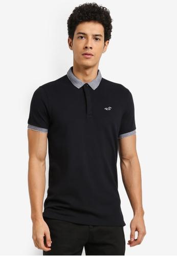 Hollister black Modern Collar Blocking Polo Shirt 193DCAA7C6559FGS_1