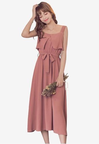 Yoco pink Sleeveless Dress With Belt 6047EAAF005B17GS_1