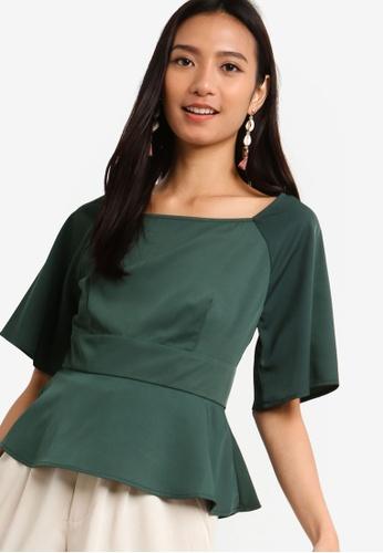 ZALORA 綠色 方領荷葉飾上衣 0E190AACCA0027GS_1