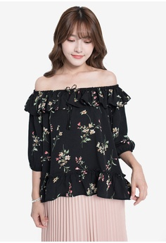 01536bc933595 Yoco black Floral Off-Shoulder Top 061AAAAE2DB673GS_1