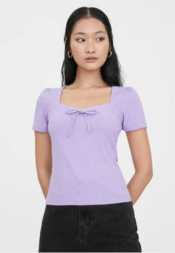 Pomelo purple Bow Tie Square Neck Blouse - Purple CF723AADD2C07BGS_1