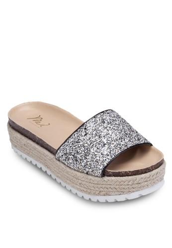 金屬感寬帶厚底麻編涼鞋, 女鞋esprit 折扣, 涼鞋
