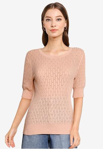 GAP pink Elbow Sleeve Pointelle Sweater 7941BAA9EF3ABCGS_1