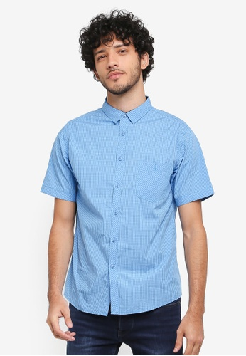 Fidelio blue Micro Collar Checkered Short Sleeves Shirt CF769AADD8EE27GS_1