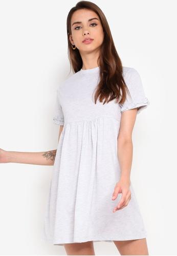 Something Borrowed 灰色 荷葉T恤洋裝 1E617AA6A84F36GS_1