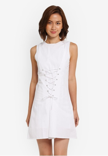ZALORA white Dress With Corset Detail 807C1AA31A4B4AGS_1